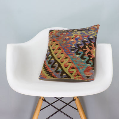 Chevron Multi Color Kilim Pillow Cover 16x16 3378 - kilimpillowstore  - 1