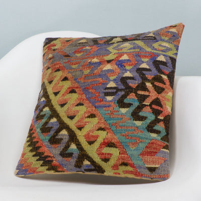 Chevron Multi Color Kilim Pillow Cover 16x16 3378 - kilimpillowstore  - 2