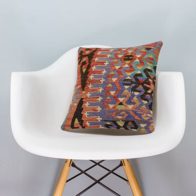 Chevron Multi Color Kilim Pillow Cover 16x16 3381 - kilimpillowstore  - 1