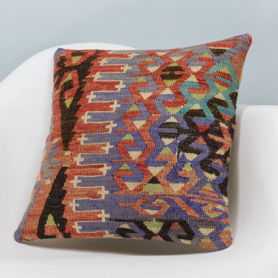 Chevron Multi Color Kilim Pillow Cover 16x16 3381 - kilimpillowstore  - 2