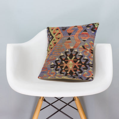 Chevron Multi Color Kilim Pillow Cover 16x16 3382 - kilimpillowstore  - 1