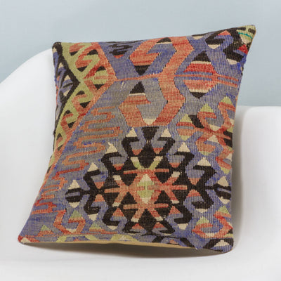 Chevron Multi Color Kilim Pillow Cover 16x16 3382 - kilimpillowstore  - 2