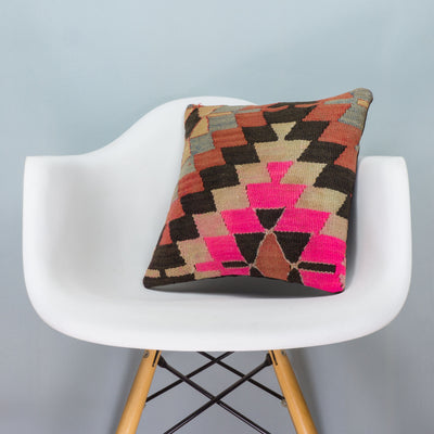 Chevron Multi Color Kilim Pillow Cover 16x16 3479 - kilimpillowstore  - 1