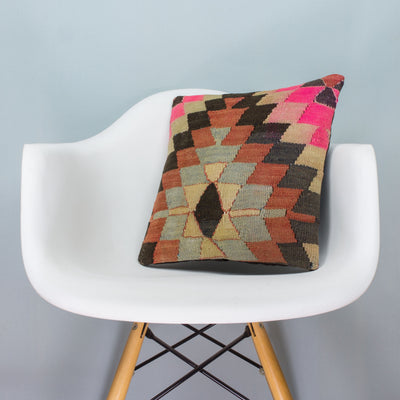 Chevron Multi Color Kilim Pillow Cover 16x16 3485 - kilimpillowstore  - 1