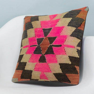 Chevron Multi Color Kilim Pillow Cover 16x16 3493 - kilimpillowstore  - 2