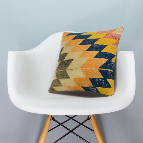 Chevron Multi Color Kilim Pillow Cover 16x16 3666 - kilimpillowstore  - 1