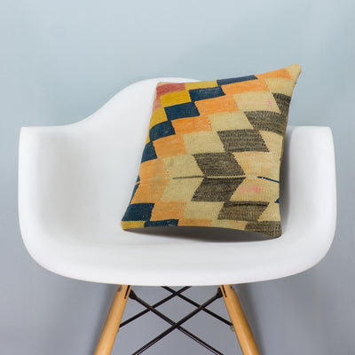 Chevron Multi Color Kilim Pillow Cover 16x16 3667 - kilimpillowstore  - 1