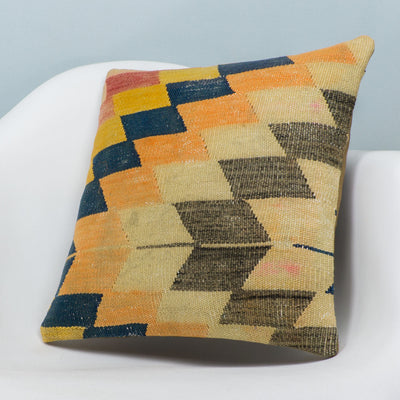 Chevron Multi Color Kilim Pillow Cover 16x16 3667 - kilimpillowstore  - 2