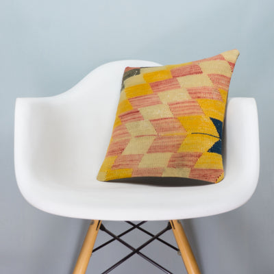 Chevron Multi Color Kilim Pillow Cover 16x16 3669 - kilimpillowstore  - 1