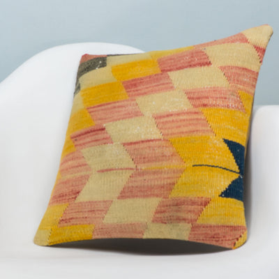 Chevron Multi Color Kilim Pillow Cover 16x16 3669 - kilimpillowstore  - 2