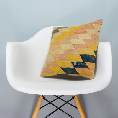 Chevron Multi Color Kilim Pillow Cover 16x16 3678 - kilimpillowstore  - 1