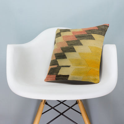 Chevron Multi Color Kilim Pillow Cover 16x16 3680 - kilimpillowstore  - 1