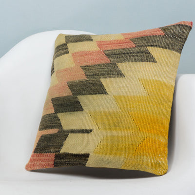 Chevron Multi Color Kilim Pillow Cover 16x16 3680 - kilimpillowstore  - 2