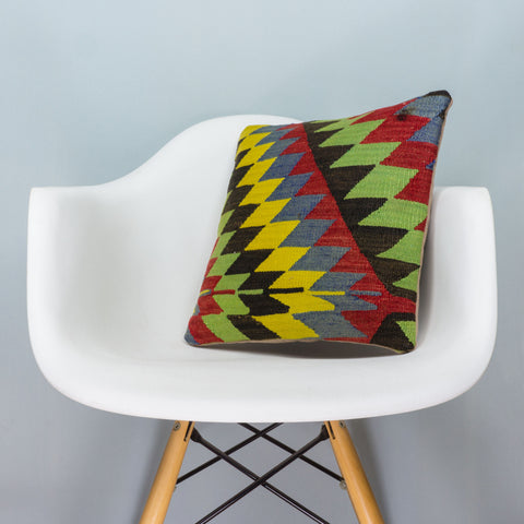 Chevron Multi Color Kilim Pillow Cover 16x16 3701 - kilimpillowstore  - 1