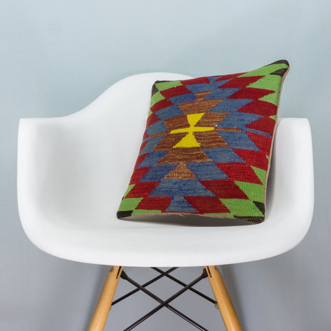Chevron Multi Color Kilim Pillow Cover 16x16 3711 - kilimpillowstore  - 1
