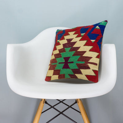 Chevron Multi Color Kilim Pillow Cover 16x16 3715 - kilimpillowstore  - 1