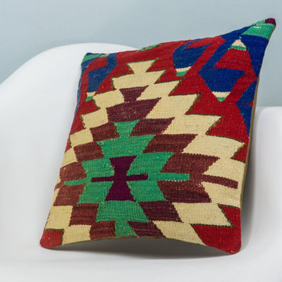 Chevron Multi Color Kilim Pillow Cover 16x16 3715 - kilimpillowstore  - 2