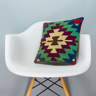 Chevron Multi Color Kilim Pillow Cover 16x16 3718 - kilimpillowstore  - 1