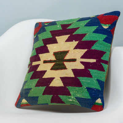 Chevron Multi Color Kilim Pillow Cover 16x16 3718 - kilimpillowstore  - 2