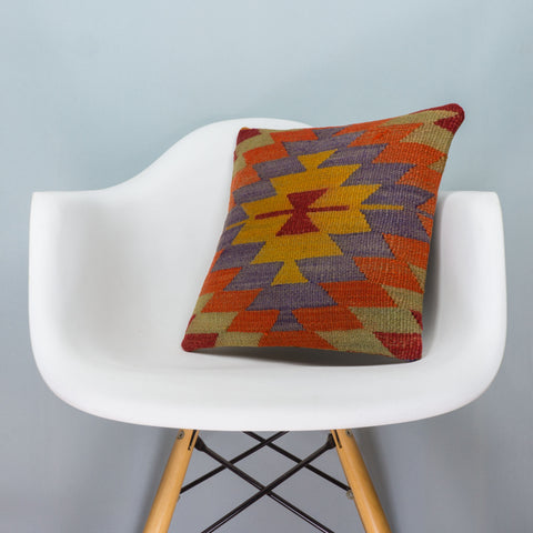 Chevron Multi Color Kilim Pillow Cover 16x16 3735 - kilimpillowstore  - 1