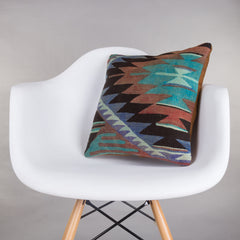 Chevron Multi Color Kilim Pillow Cover 16x16 4892 - kilimpillowstore  - 1