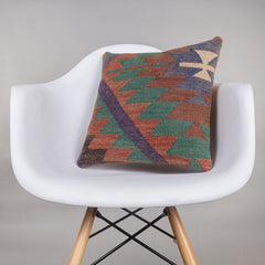 Chevron Multi Color Kilim Pillow Cover 16x16 4511 - kilimpillowstore  - 1