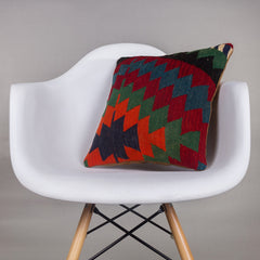 Chevron Multi Color Kilim Pillow Cover 16x16 4583 - kilimpillowstore  - 1