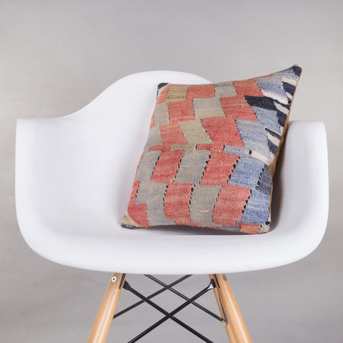 Chevron Multi Color Kilim Pillow Cover 16x16 4854 - kilimpillowstore  - 1