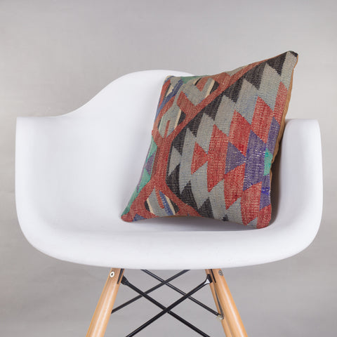 Chevron Multi Color Kilim Pillow Cover 16x16 4860 - kilimpillowstore  - 1
