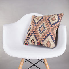Chevron Multi Color Kilim Pillow Cover 16x16 5180 - kilimpillowstore  - 1