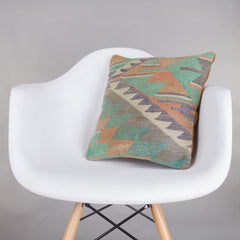 Chevron Multi Color Kilim Pillow Cover 16x16 5477 - kilimpillowstore  - 1