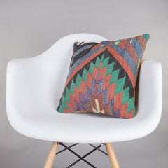 Chevron Multi Color Kilim Pillow Cover 16x16 5524 - kilimpillowstore  - 1