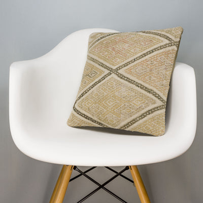 Geometric Beige Kilim Pillow Cover 16x16 3114 - kilimpillowstore