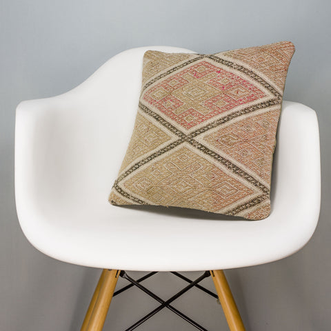 Geometric Beige Kilim Pillow Cover 16x16 3121 - kilimpillowstore