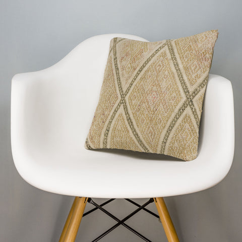 Geometric Beige Kilim Pillow Cover 16x16 3122 - kilimpillowstore