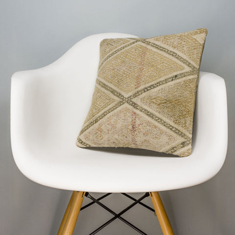 Geometric Beige Kilim Pillow Cover 16x16 3126 - kilimpillowstore