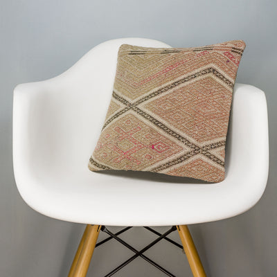 Geometric Beige Kilim Pillow Cover 16x16 3166 - kilimpillowstore