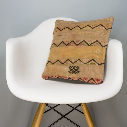 Geometric Beige Kilim Pillow Cover 16x16 3163 - kilimpillowstore