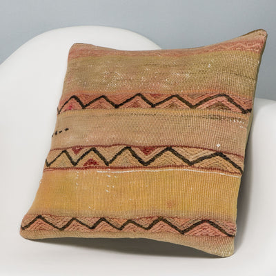 Geometric Beige Kilim Pillow Cover 16x16 3164 - kilimpillowstore