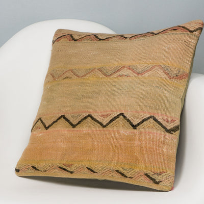Geometric Beige Kilim Pillow Cover 16x16 3165 - kilimpillowstore
