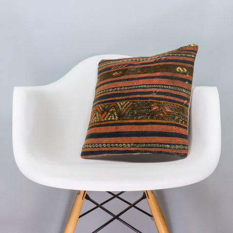 Geometric Brown Kilim Pillow Cover 16x16 3390 - kilimpillowstore  - 1