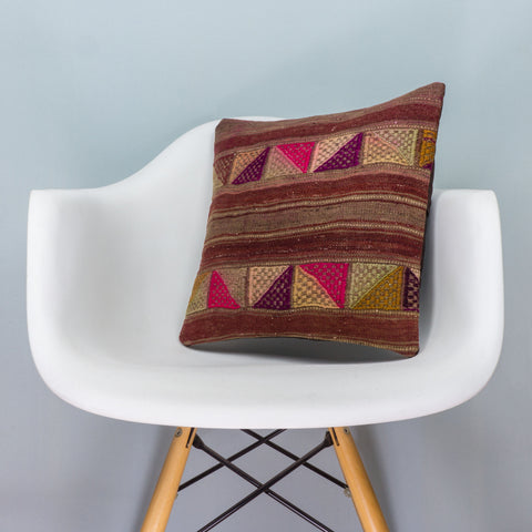 Geometric Brown Kilim Pillow Cover 16x16 3554 - kilimpillowstore  - 1