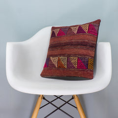 Geometric Brown Kilim Pillow Cover 16x16 3558 - kilimpillowstore  - 1