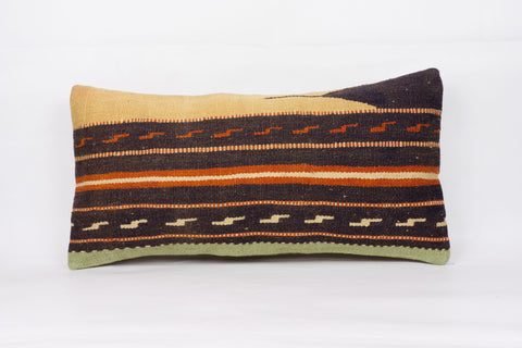 Geometric Multi Color Kilim Pillow Cover 12x24 4307 - kilimpillowstore  - 1
