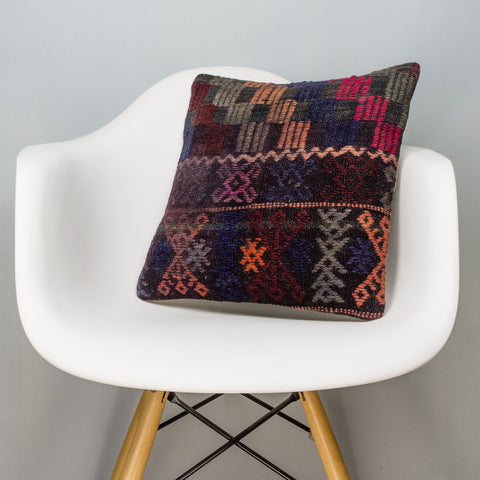 Geometric Multi Color Kilim Pillow Cover 16x16 3079 - kilimpillowstore