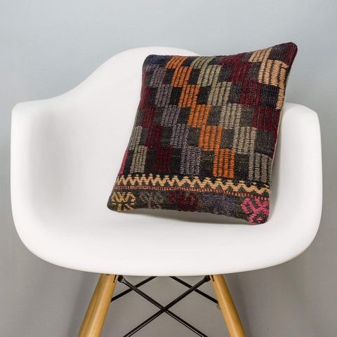 Geometric Multi Color Kilim Pillow Cover 16x16 3081 - kilimpillowstore