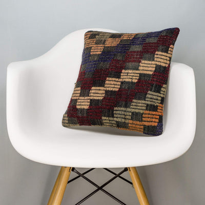 Geometric Multi Color Kilim Pillow Cover 16x16 3082 - kilimpillowstore