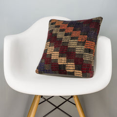 Geometric Multi Color Kilim Pillow Cover 16x16 3083 - kilimpillowstore