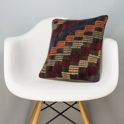 Geometric Multi Color Kilim Pillow Cover 16x16 3084 - kilimpillowstore