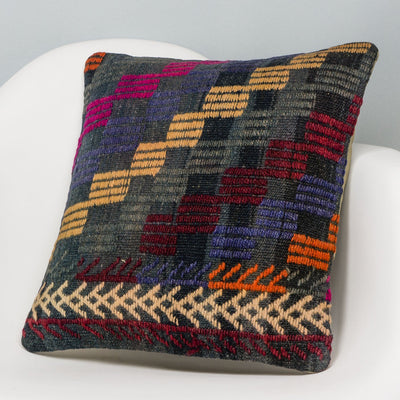 Geometric Multi Color Kilim Pillow Cover 16x16 3087 - kilimpillowstore